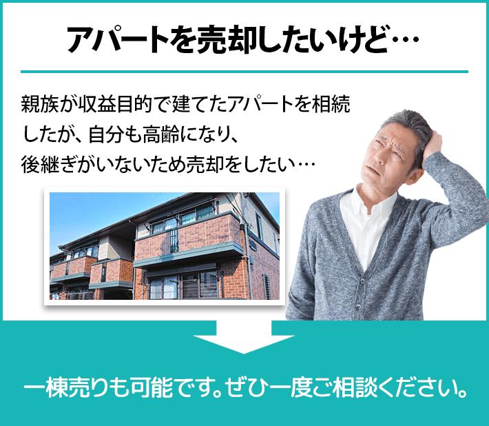 アパートを売却したいけど。親族が収益目的で建てたアパートを相続したが、自分も高齢になり後継ぎがいないため売却をしたい。(あおぞら不動産なら)一棟売りも可能です。ぜひ一度ご相談ください。