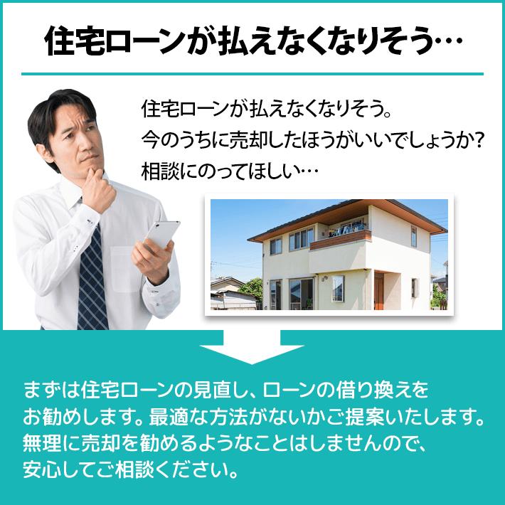 住宅ローンが払えなくなりそう。今のうちに売却したほうがいいでしょうか?相談にのってほしい(あおぞら不動産なら)まずは住宅ローンの見直し、ローンの借り換えをお勧めします。最適な方法がないかご提案いたします。無理に売却を勧めるようなことはしませんので、安心してご相談ください。